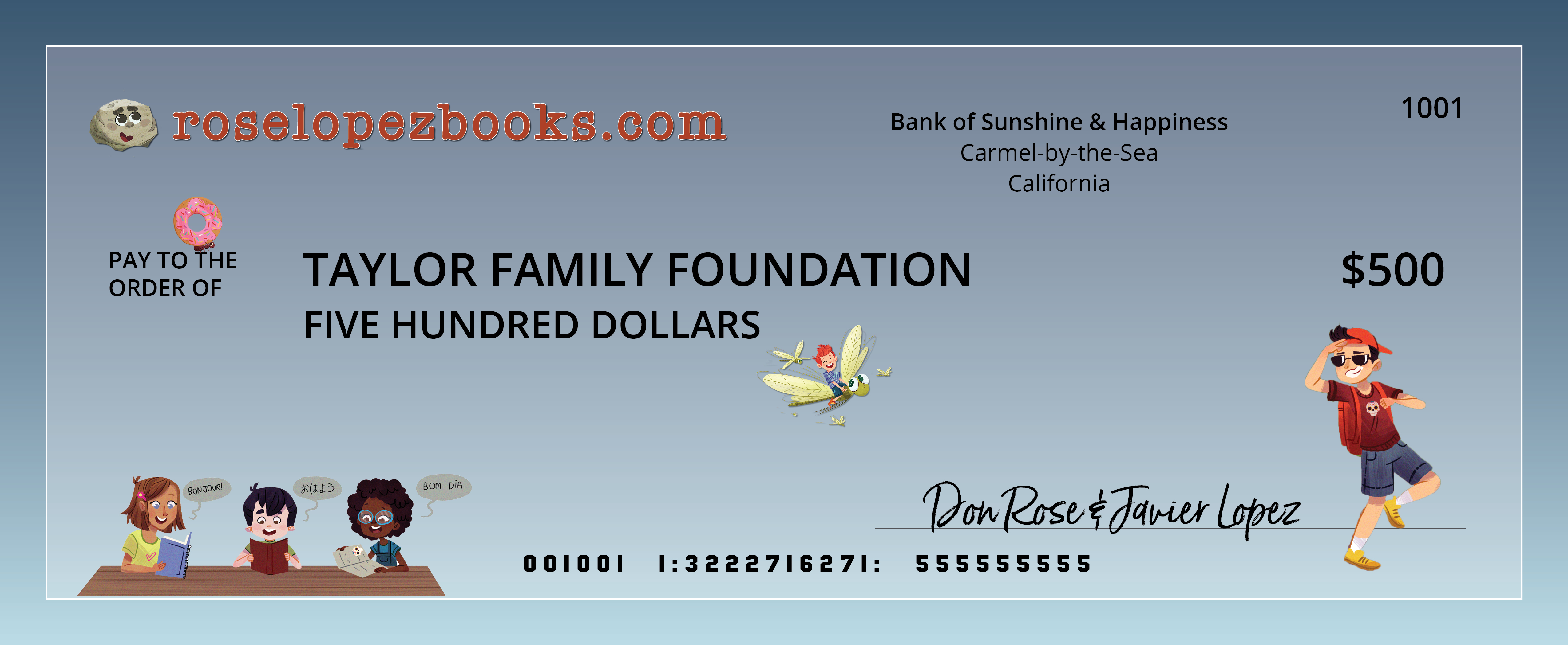 Taylor Family Foundation Check